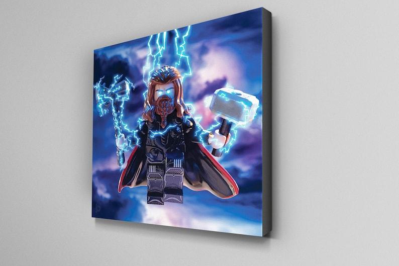Thor Minifigure Canvas Wall Art Print 10 x 10inch