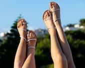 SELENA Bridal Leather sandals, Ankle strap, Rose gold Braid sandals, Silver Braid sandals, greek sandals, BRIDAL sandals, Odyssey Handmade