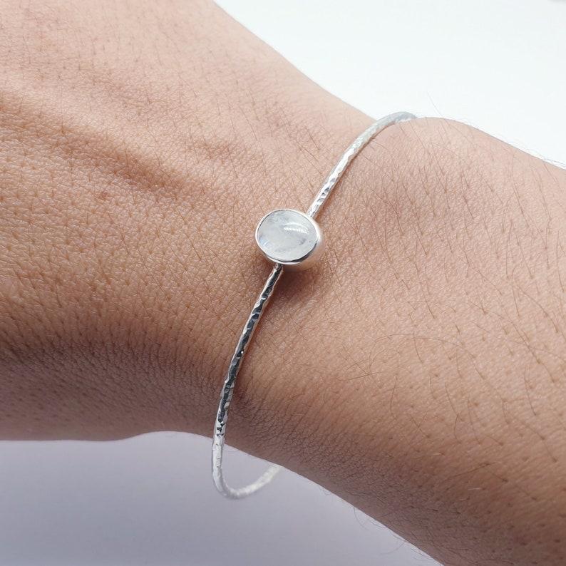 Moonstone Sterling Silver Little Stone Cuff