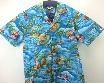 ecd4c530d0fd Aloha Republic Made In Hawaii USA Surfing Santa Christmas Mele Kalikimaka  Button Up Hawaiian Shirt Adult Medium Blue