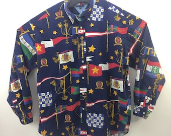333d52a02 90s Tommy Hilfiger All Over Print Big Flag Spell Out Button Down Shirt  Adult Large, Mens Vintage Clothing, Blue Long Sleeve, Rare Grail THF
