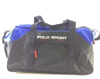 653789d5aa Vintage Polo Sport Ralph Lauren Blue Duffel Bag Gym Overnight Carry On Bag