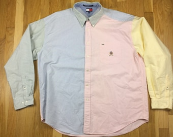9697df63 Tommy Hilfiger Long Sleeve Crest Logo Stripe Button Down Multi Color Block  Shirt Adult XXL 2XL, Mens Vintage Clothing Pink Yellow Green Blue