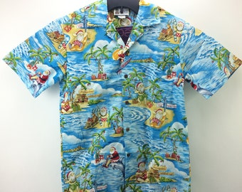 6ff374a3 Aloha Republic Made In Hawaii USA Surfing Santa Christmas Mele Kalikimaka  Button Up Hawaiian Shirt Adult Small Blue, Mens Vintage Clothing