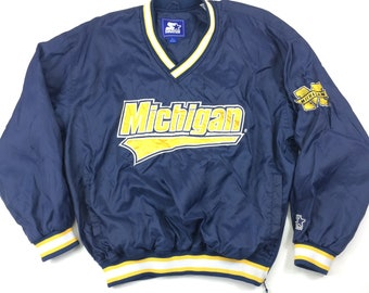 470844fb1 90s Starter Michigan Wolverines Pullover Lightweight Jacket Adult Large