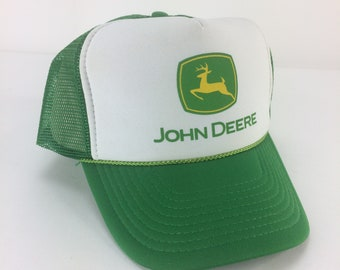 955187e8a6ddfd John Deere Nissun Cap Mesh Foam Trucker Adjustable Fit Snap Back Hat Green  White, Unisex Adult Size, Deadstock NWT, Mens Vintage Clothing