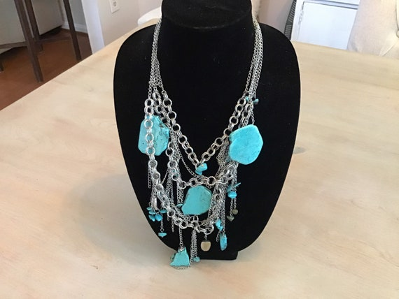 Turquoise Stone and silver multi-chain necklace!