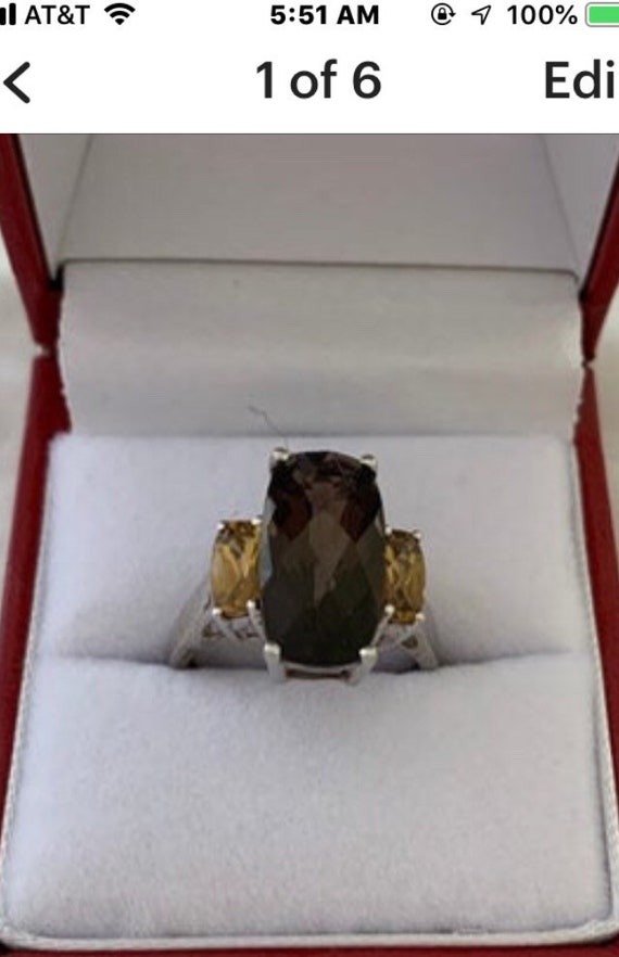 Shé couture Sterling Silver Gold-Tone Accent Antique citrine ring