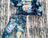 Word party inspired boy denim pants and jacket vest set. Custom orders are welcome. Leave details in purchase notes.