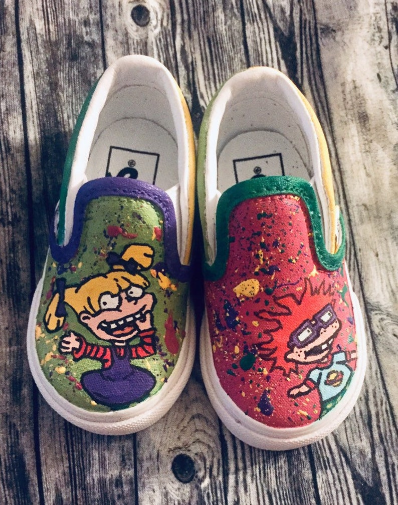 Cartoon inspired custom hand painted canvas shoes