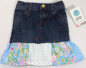 APPLE BOTTOMS Upcycled Elastic Waist Refashioned Jean Skirt - Infant Girl s  18 Mo - Floral   Polka Dot Ruffles - Free Shipping -100% Cotton deab2a46227