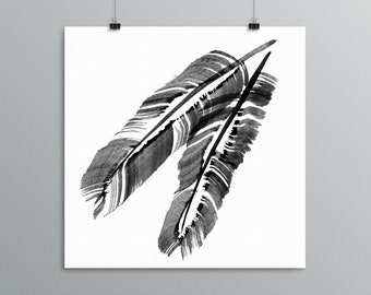 Feather Painting - Feather Art - Bird Art, Modern Poster, Home Decor, Chicken Feathers, Feather Illustration, Black and White