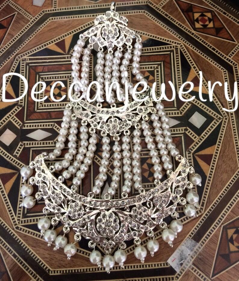 silver plating Hyderabadi jadau jhoomar in  pearls and polki