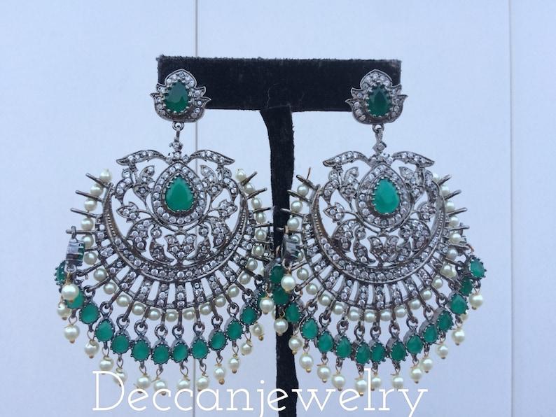 Deepahika Victorian style silver earrings , indian jewellery