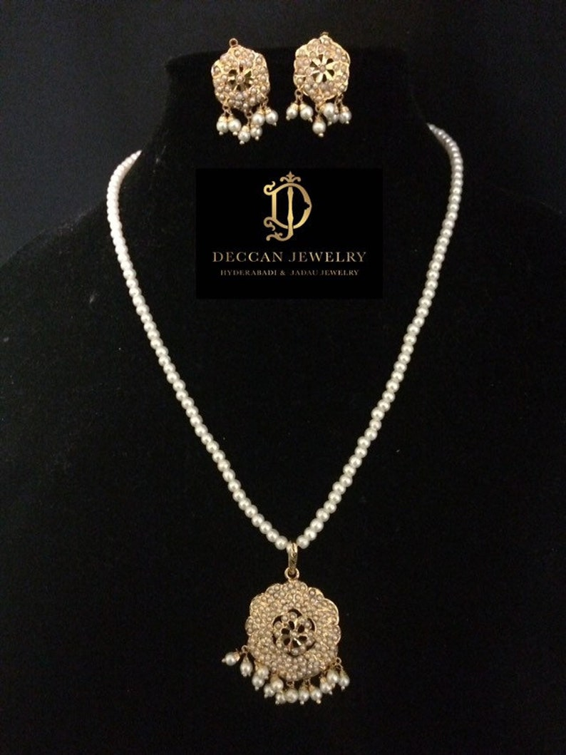 Naima punjabi jadau pendant in pearls indian jewellery