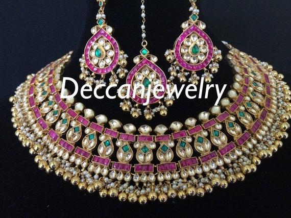 Sumaina high quality jadau pachi kundan necklace with earrings Indian jewellery