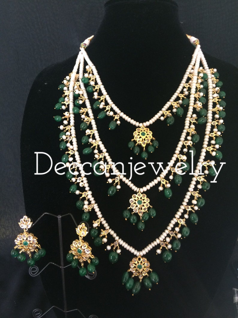 ffb3468a905d4 Fiona three layered hyderabadi necklace set in natural pearls and beads ,  indian jewellery