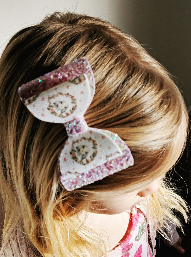 Bunny hearts & sparkle hair bow