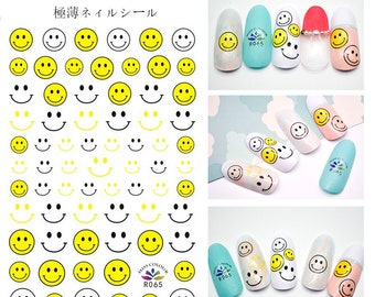 Smiley Face Sunflower Nail Art Decal Emoji EmoticonsFlower Daisy Smile Rainbow 3D Extra-Thin Self-Adhesive Nail Stickers