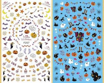 Skull Halloween Pumpkin Spiders Webs Bat Cat Moon Cemetery Death Graveyard Witch Poker Ghost Extra-Thin 3D Nail Stickers