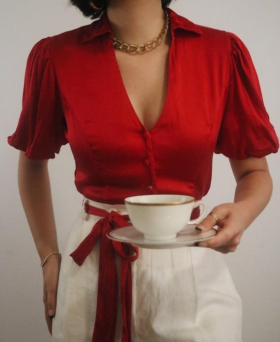 Vintage Silk Puff Sleeve Blouse - Cherry Red Silk