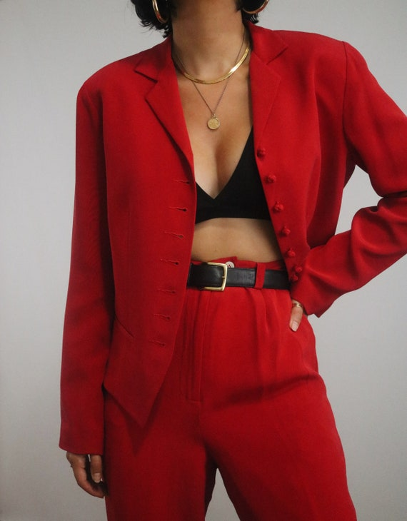 Vintage Red Silk Pant Suit - High Waisted Silk Tro