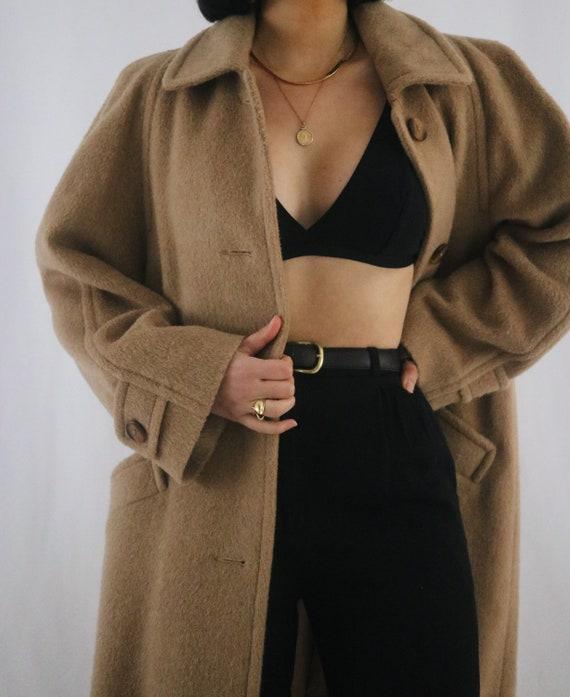Vintage Caramel Wool + Mohair Long Coat - Vintage