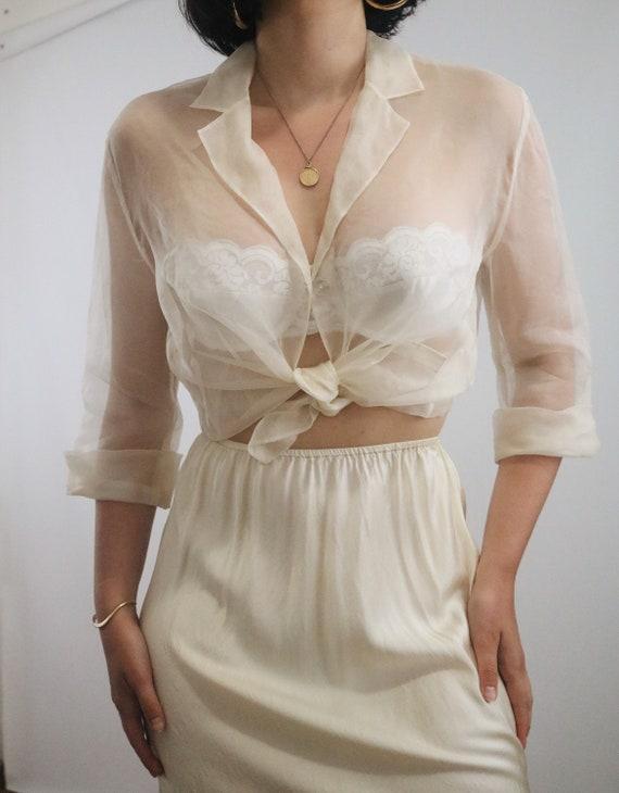 Vintage Silk Slip Skirt - Cream Charmeuse Liquid S
