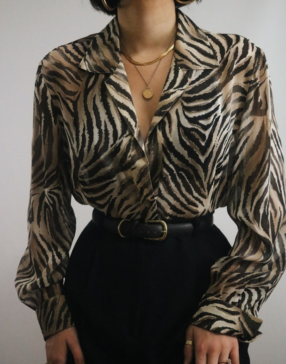 Vintage Silk Animal Print Sheer Blouse - Silk Shee