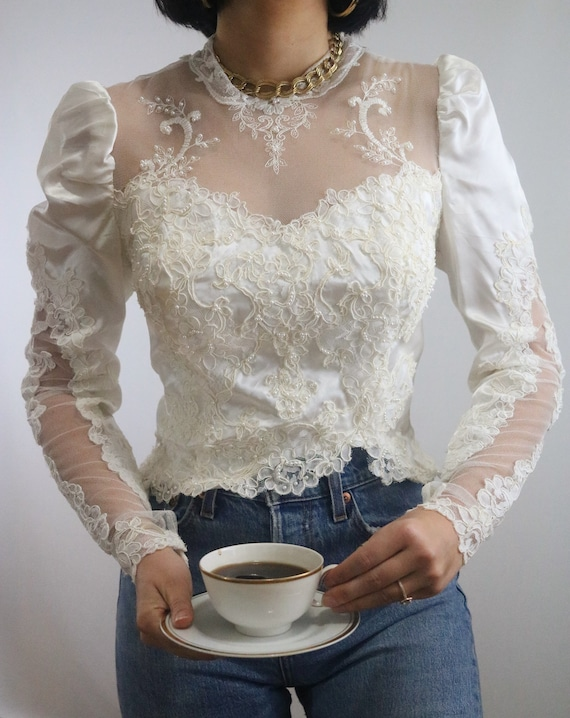 Vintage 1970's Cream Satin Lace Puff Sleeve Rework