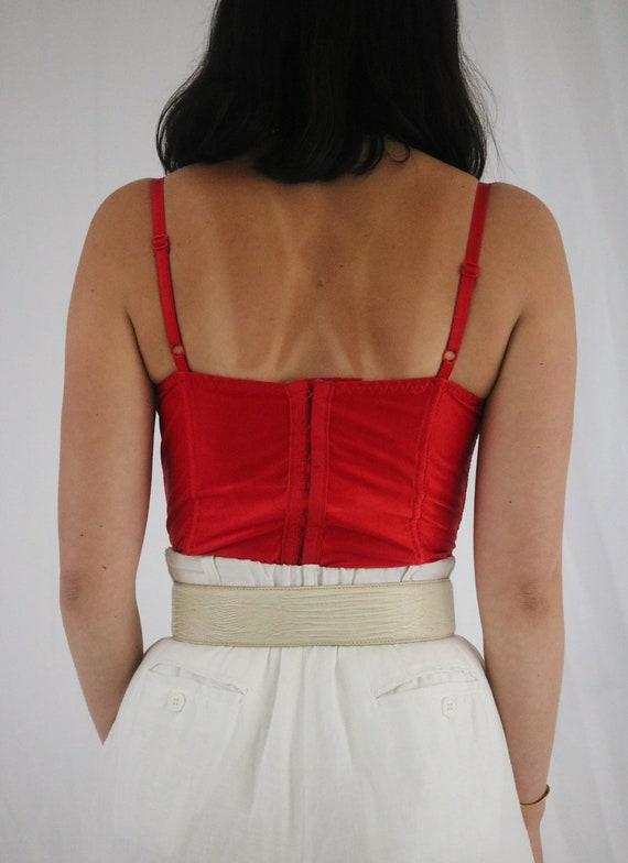 Vintage Cherry Red Victoria's Secret Lace Bustier… - image 2