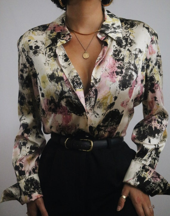 Vintage Silk Blouse - Abstract Watercolor Print Ch