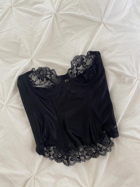 Vintage Black Lace + Satin 1980's Gold Label Vict… - image 5
