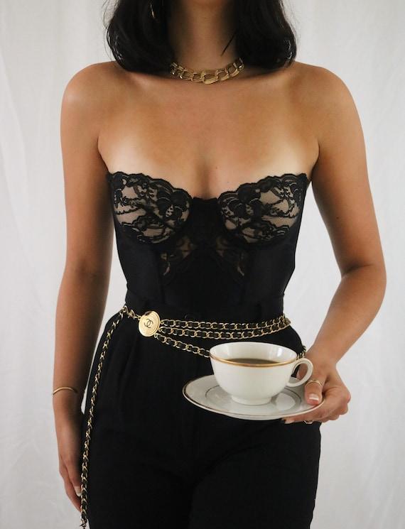 Vintage Black Lace + Satin 1980's Gold Label Vict… - image 2