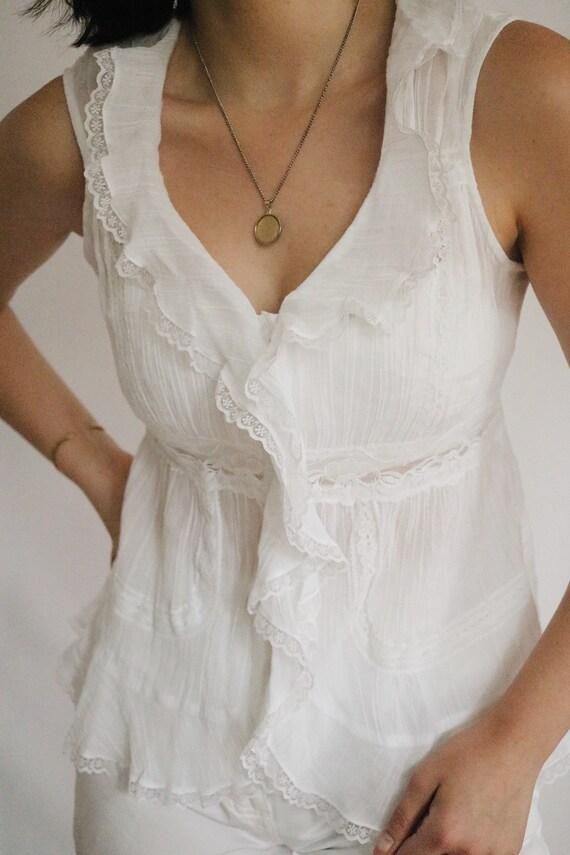 Vintage White Pure Cotton Blouse