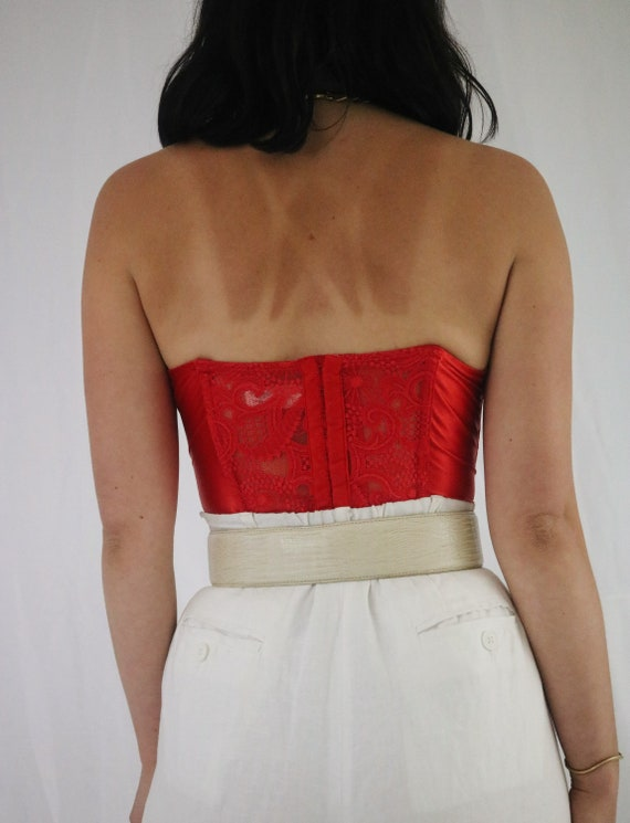 Vintage Cherry Red Lace Victoria's Secret Bustier… - image 2