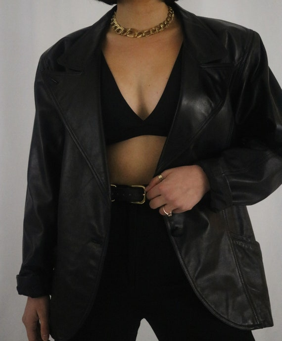 Vintage Black Leather Jacket - Classic Minimalist
