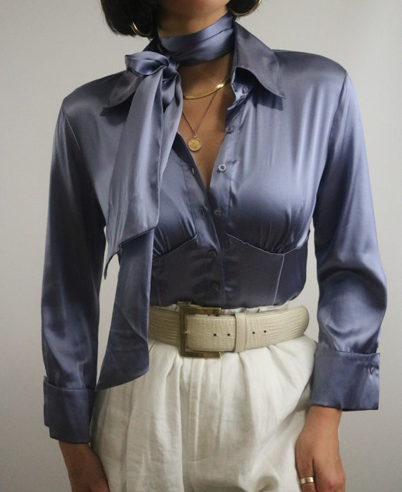 Vintage Bebe Ice Blue Silk Blouse with Removable S