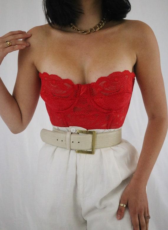 Vintage Cherry Red Lace Victoria's Secret Bustier… - image 3