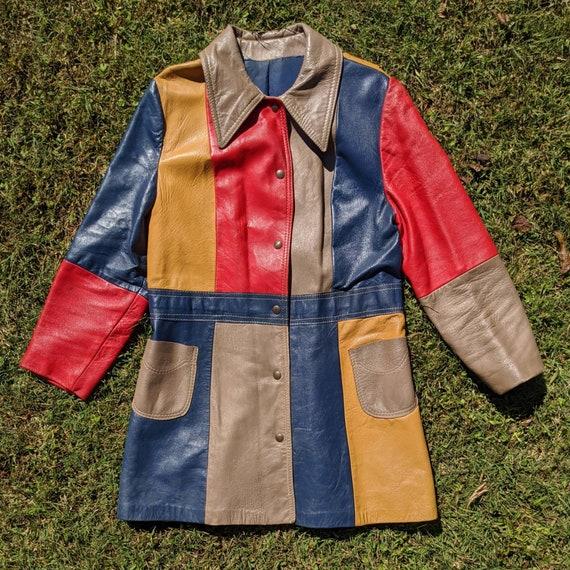 Vintage Color Block Jacket - Vegan Faux Leather -