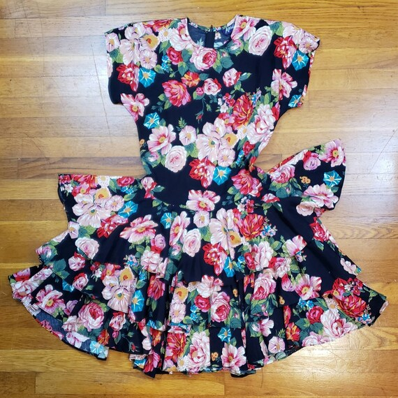 Vintage 80s Party Dress - Colorful Floral Pattern