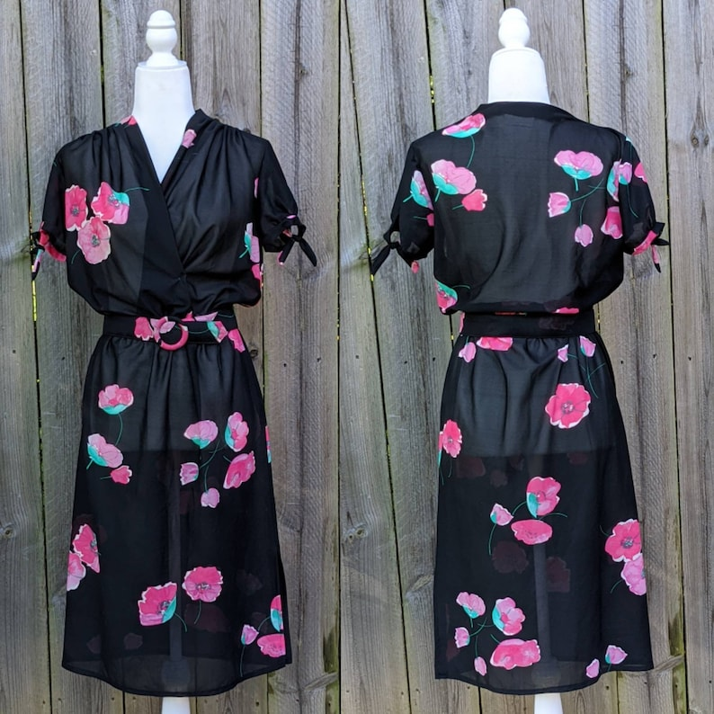 Pink Flowers on a Black Background Union Made in the USA Sheer Vintage Dress