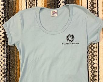 Vintage 70's 80's GE General Electric Company Western Region Single Stitch Baby Doll Shirt