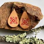 Stamped Flower Drop Earrings | Veg Tanned Leather | Hand Painted | Dangle Earrings | Lightweight Earrings