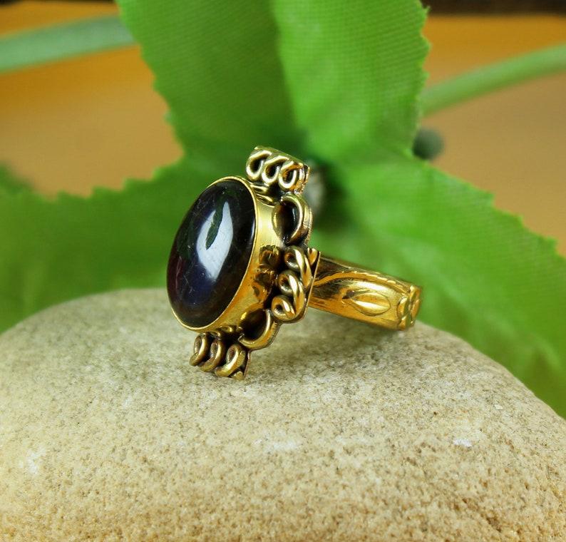 Brass Ring Natural Green Onyx Gemstones Brass Ring /& Gold Plated Jewelry Fine Handmade Brass Ring Jewelry SJ-14