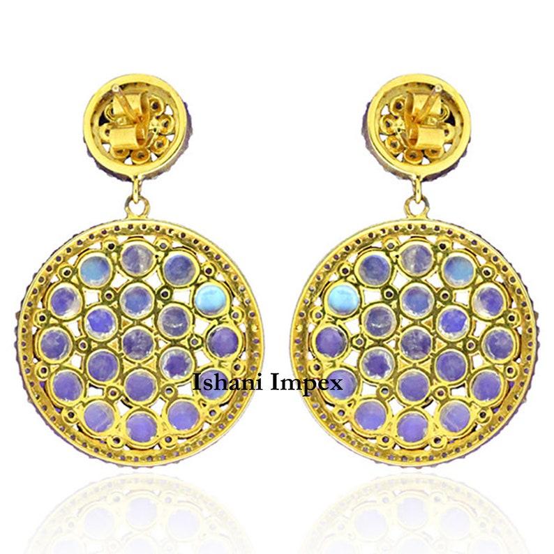Victorian Jewelry Natural Rose Cut Diamond /& Rainbow Moonstone Gold 925 Sterling Silver Victorian Vintage Handmade Diamond Earrings Jewelry