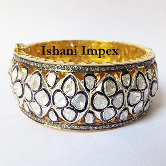 Diamond Jewelry Natural Diamond Polki Rose Cut Diamond 18k Gold 925 Sterling Silver Vintage Bangle Bracelet Victorian Jewelry For Gift