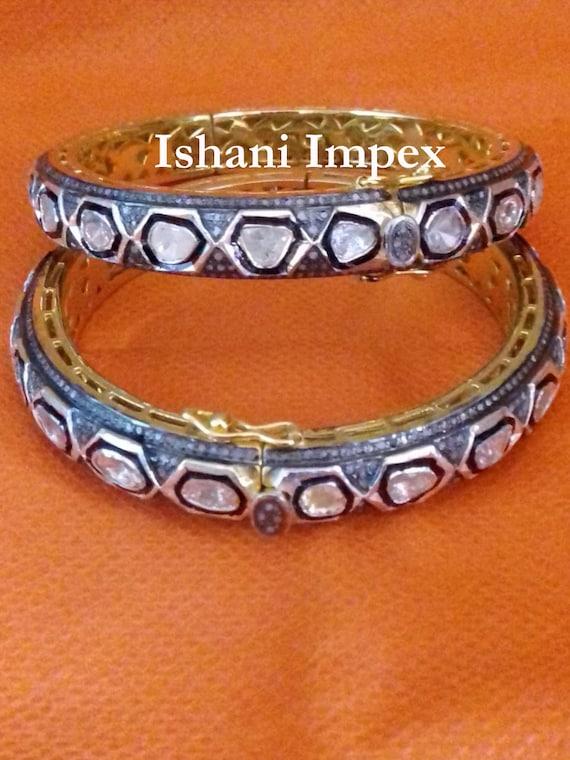 Fine Handmade Natural Rose Cut Diamond /& Uncut Diamond Polki Sapphire Gold 925 Sterling Silver Victorian Vintage Diamond Bangle Bracelet