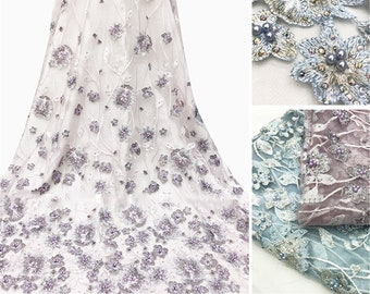 a4f14ab56a 2019 New 3D Floral Embroidery Lace Fabric By The Yard