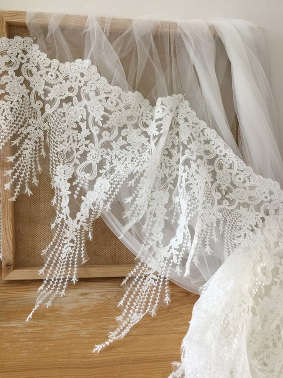Tulle Embroidery Lace Trim By The Yard Wedding Dress Lace Trim Luxury 3D Beaded Lace Trim Bridal Veil Lace